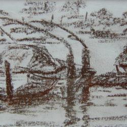 Bootje aan de Amstel, pastel, 10x15, 75 Euro