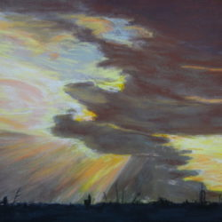 Zon achter Regen, Ronde Hoep, Pastel, 50x70, 295 Euro