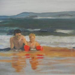 Vader en dochter in de zee, 60x80, Werk in Opdracht