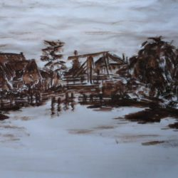 Korte Brug Ouderkerk, Pastel, Papier, 20x30, 195 Euro