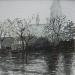 Urbanuskerk Ouderkerk ad Amstel, Aquarel, 15x20, 150 Euro